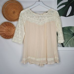 Umgee Cream Floral Lace Tunic Boho Gauzy Lace Up